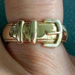 14K heavy vintage buckle ring